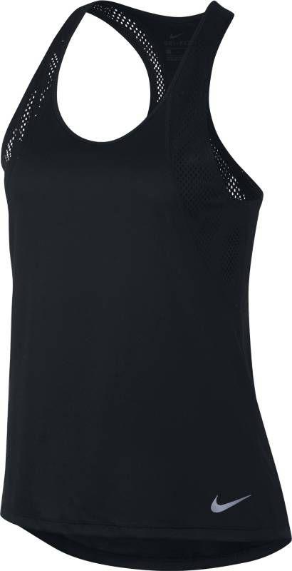 Майка женская Nike Running Tank, цвет: черный. 890351-010. Размер XS (40/42)890351-010Женская беговая майка Nike с Т-образной спиной из дышащей сетчатой ткани дарит приятное ощущение прохлады и комфорт на любой дистанции. Трикотажная сетка обеспечивает воздухопроницаемость и охлаждение. Т-образная спина обеспечивает свободу движений. Облегающий крой не отвлекает от спорта. Технология Dri-FIT отводит влагу с поверхности кожи, обеспечивая комфорт. Горловина с вырезом «лодочка» для комфортной посадки. Удлиненная сзади нижняя кромка для защиты поясницы.
