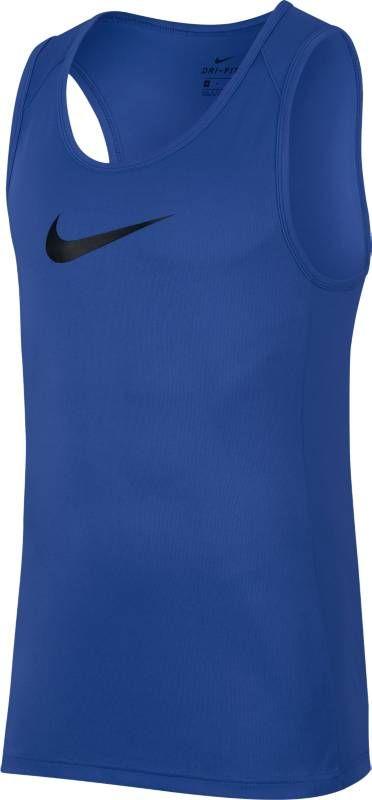 Майка мужская Nike Dry Basketball Top, цвет: синий. AJ1431-480. Размер L (50/52)AJ1431-480Думайте об игре, а не о том, что на вас надето, в мужской баскетбольной майке Nike Dry. Эта функциональная майка из легкой дышащей ткани с влагоотводящей технологией Dri-Fit имеет облегающий крой, и поэтому у тебя нет ощущения громоздкости во время игры. Технология Dri-Fit отводит влагу и обеспечивает комфорт. Особая конструкция в области плеч для оптимальной свободы движений во время игры. Немного удлиненная сзади нижняя кромка для дополнительной защиты.