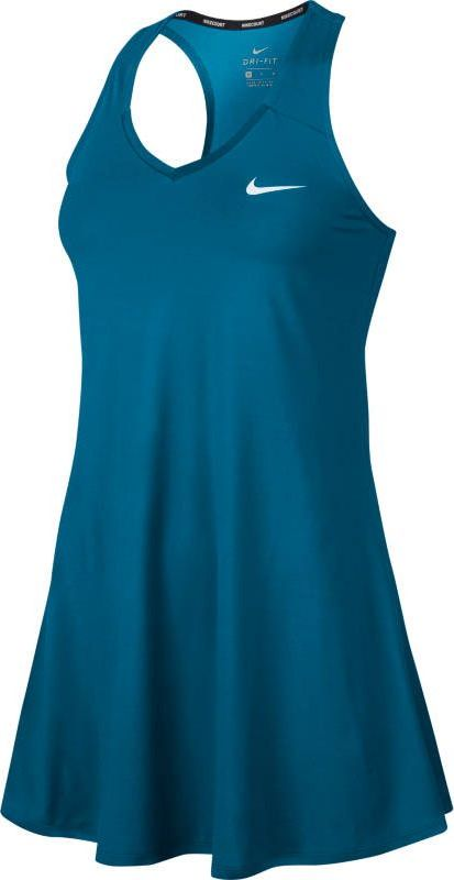 Платье для тенниса Nike Court Tennis Dress, цвет: синий. 872819-430. Размер S (42/44)872819-430Теннисное платье от Nike выполнено из эластичного полиэстера с технологией Dri-FIT, которая отводит влагу от кожи и дарит комфорт. Т-образная спина обеспечивает естественность движений во время игры на корте. Горловина с V-образным вырезом для удобной посадки.