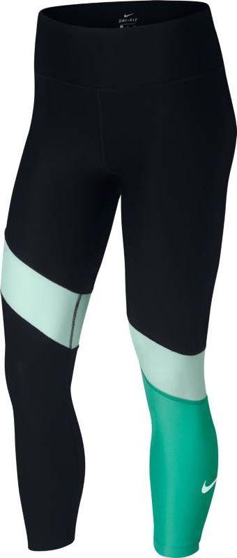 Тайтсы женские Nike Power, цвет: черный, зеленый. 891934-010. Размер M (46/48)