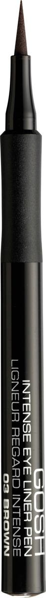 Gosh Подводка-фломастер для глаз Intense, 1 мл, тон №035701278543644Подводка в виде фломастера Intense Eye Liner Pen от датского бренда Gosh - это восхитительное средство, призванное облегчить процесс создания выразительного и яркого мейкапа глаз. Благодаря своему функциональному дизайну и сенсационно стойкой формуле эта подводка позволяет нарисовать абсолютно четкую, чрезвычайно ровную и аккуратную стрелку насыщенного цвета, которая будет безукоризненно держаться на веках в течение дня, наполняя взгляд необыкновенной выразительностью. С помощью подводки от Gosh рисование как изысканно тонкого, так и ультрамодного утолщенного контуров станет необычайно простым занятием даже для новичков, которым достаточно сложно провести поистине идеальную стрелку.Представленная подводка имеет эластичный и мягкий фетровый аппликатор, который делает ее использование максимально комфортным и продолжительным. Сроки использования средства увеличиваются более, чем в два раза, благодаря великолепной возможности перевернуть аппликатор подводки обратной стороной. Способ применения: Начните проводить линию от внутреннего угла глаза к внешнему так, чтобы кисточка шла точно вдоль основания ресниц.