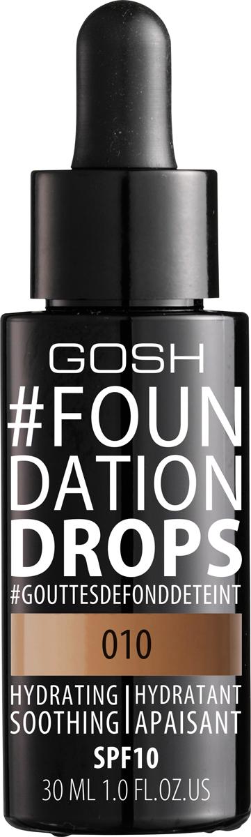 Gosh Тональный крем Foundation Drops увлажняющий, 30 мл, 010