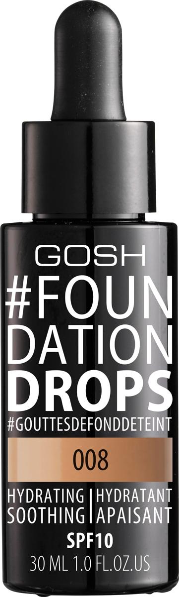 Gosh Тональный крем Foundation Drops увлажняющий, 30 мл, 008