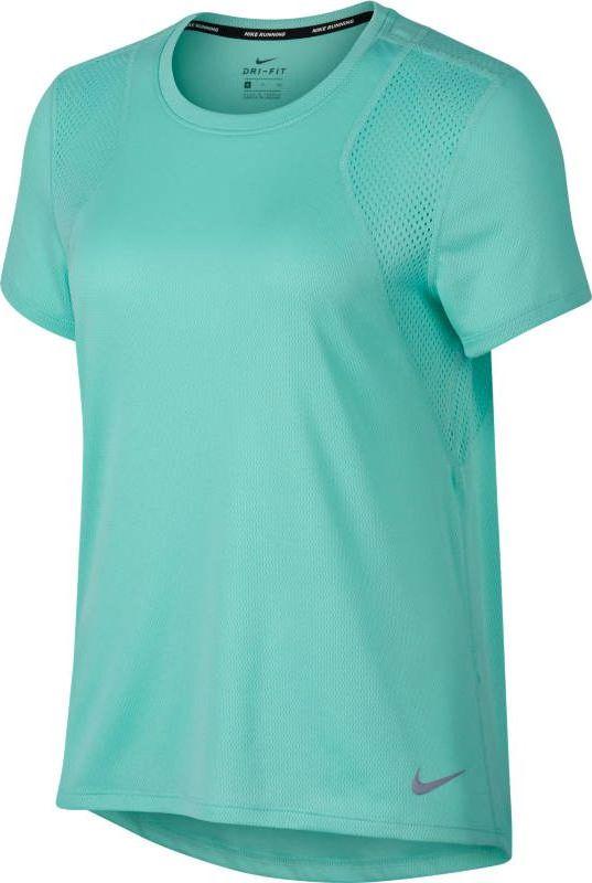 Футболка женская Nike Short-Sleeve Running Top, цвет: бирюзовый. 890353-349. Размер L (48/50) футболка беговая nike dri fit cool tailwind stripe short sleeve top