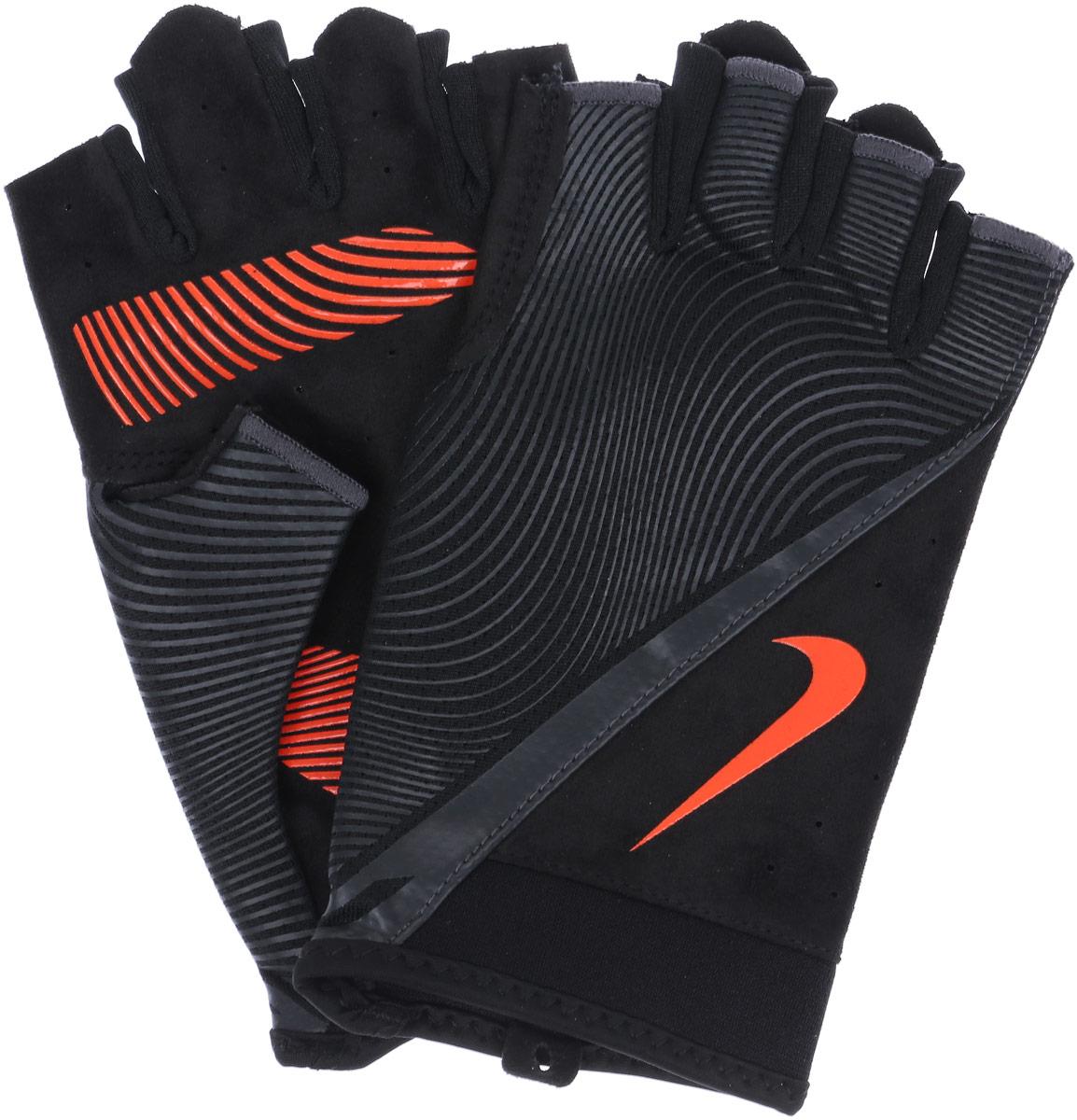 Перчатки тренировочные мужские Nike, цвет: черный, серый, красный. Размер L цена