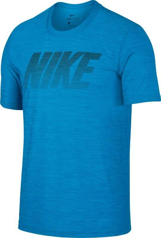 Футболка мужская Nike Breathe Training Top, цвет: синий. 942116-482. Размер XL (52/54)942116-482Мужская футболка для тренинга Nike Breathe из супермягкой ткани джерси сохраняет тело сухим и обеспечивает комфорт благодаря функциональной посадке, которая разработана специально для движения. Ткань Nike Breathe отводит влагу и обеспечивает ощущение прохлады. Линии силуэта повторяют изгибы тела и не стесняют движений. Удлиненная сзади нижняя кромка для дополнительной защиты. Спереди по центру нанесена графика NIKE.