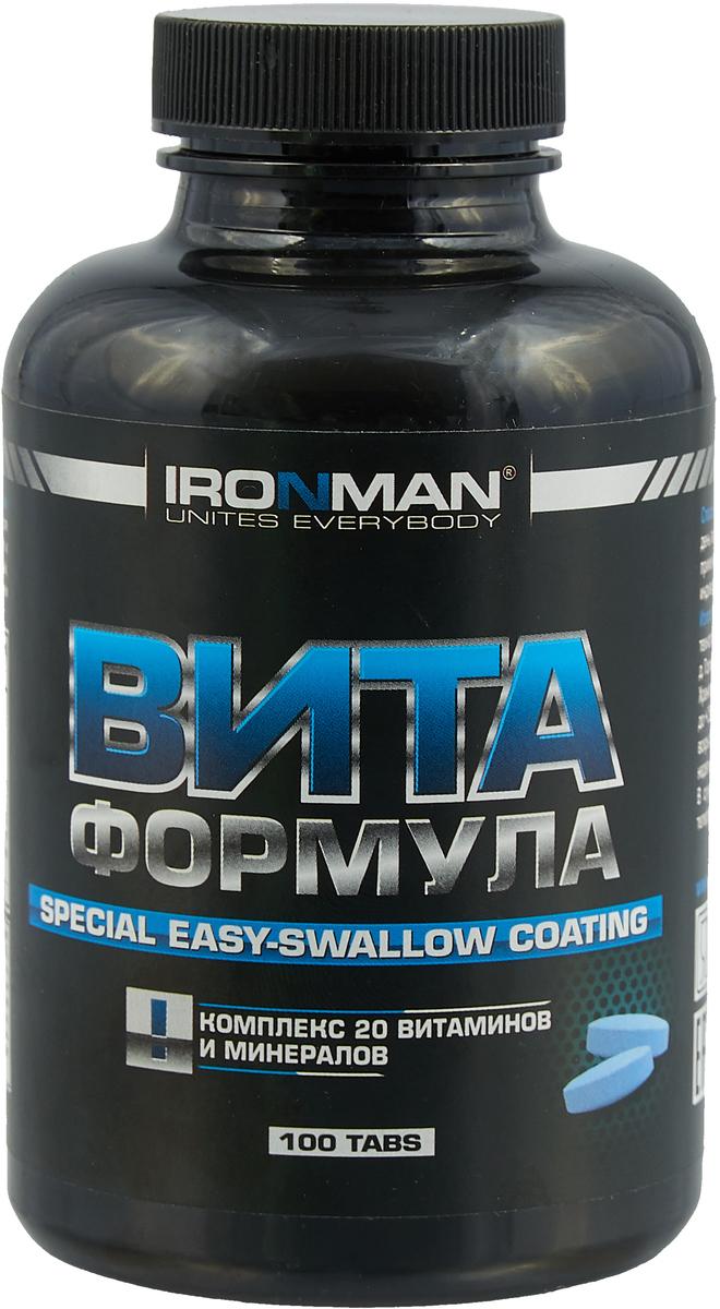 """Ironman """"Vita Formula"""" - это высокоэффективный  комплекс, включающий в себя  полный набор витаминов и минералов, необходимых  организму, плюс ферменты, способствующие лучшему  усвоению питательных веществ. Ironman """"Vita Formula"""" -  это исключительно натуральная формула, содержащая  хелатированные минералы. Не содержит каких-либо  искусственных красителей и добавок.   Способ употребления: принимать по 1 таблетке  ежедневно с едой. Для лиц, ведущих активный образ  жизни или интенсивно тренирующихся, можно увеличить  ежедневную дозу до 2-3 таблеток.    Состав: смесь витаминов DSM Group (Швейцария),  комплекс минеральных солей, пленочное покрытие  Colorcon (Англия).   Содержание питательных веществ в порции (1 таблетка):  витамин В1 (тиамин) 11,9 мг, витамин В2 (рибофлавин)  1,8 мг, витамин В6 (пиридоксин) 2,5 мг, витамин В12  (цианокобаламин) 1,1 мкг, железо 0,8 мг, цинк 2,4 мг,  витамин B5 (пантотеновая кислота) 9,9 мг, витамин B9  (фолиевая кислота) 0,38 мг, магний 23,3 мг, витамин B3  (ниацин) 16,6мг, калий 5,1 мг, магний 23,3 мг, хром  1,24 мкг, кальций 94,9 мг, витамин Е 14 мг, витамин С 56,3  мг.   Товар сертифицирован.    Уважаемые клиенты!  Обращаем ваше внимание на возможные изменения в дизайне упаковки. Качественные характеристики товара остаются неизменными. Поставка осуществляется в зависимости от наличия на складе.      Как повысить эффективность тренировок с помощью спортивного питания? Статья OZON Гид"""