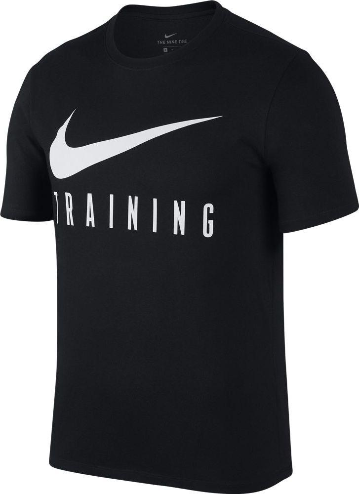 Футболка мужская Nike Dry, цвет: черный. AH6503-010. Размер XL (52/54)AH6503-010Футболка от Nike выполнена из хлопкового трикотажа. Модель с короткими рукавами и круглым вырезом горловины на груди оформлена принтом с логотипом бренда.