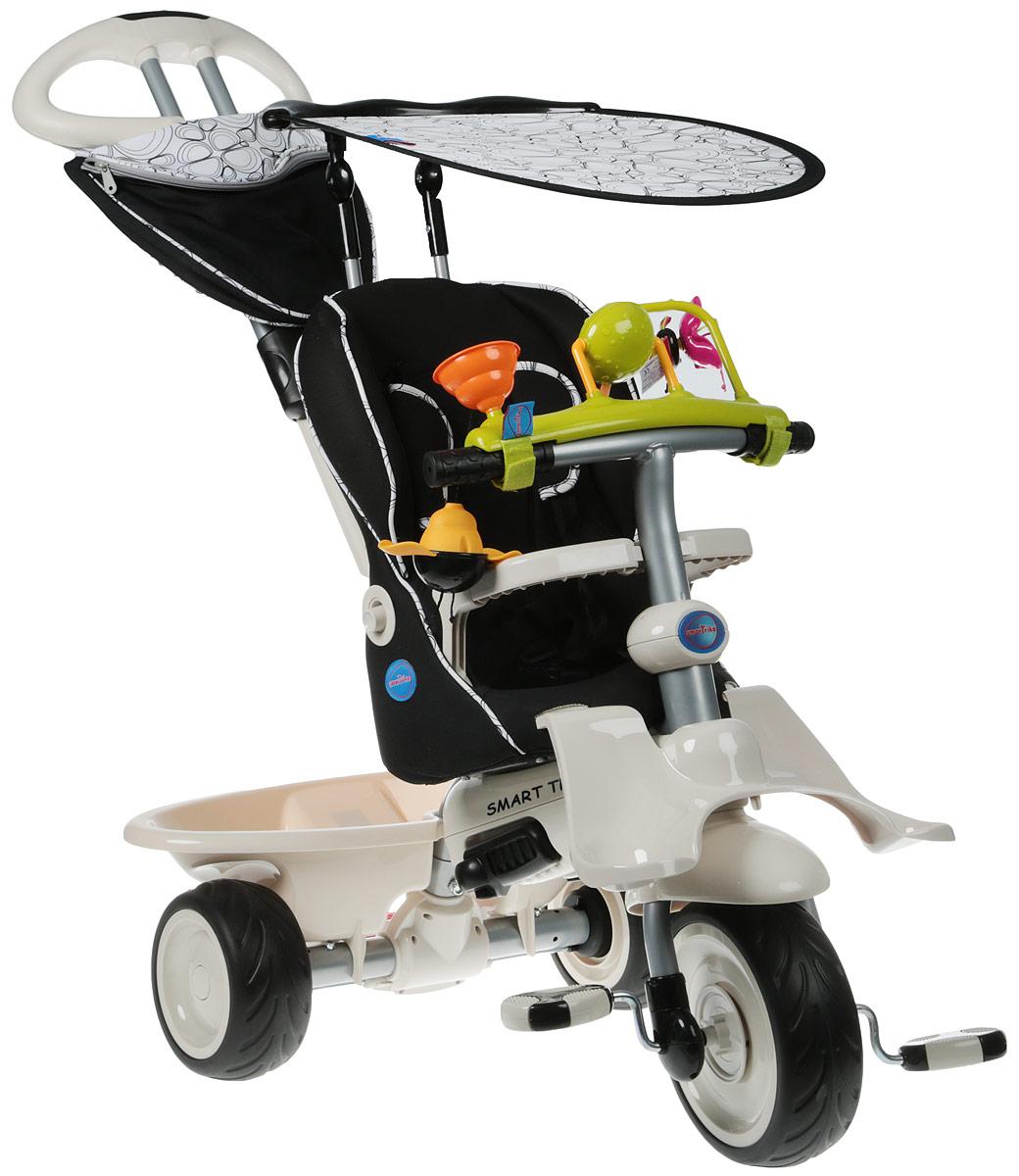 """Трехколесный велосипед Smart Trike """"Recliner"""" выполнен из прочного пластика и металла. Сиденье велосипеда оборудовано ремнем   безопасности, также велосипед имеет небольшой багажник для игрушек. Это единственный на сегодняшний день велосипед, рассчитанный на самых маленьких детей в возрасте от шести месяцев. Учитывая физические особенности малыша, у велосипеда есть дополнительная подставка   для ножек шестимесячных детей. Мягкое удобное сиденье, оборудованное 3-точечными ремнями безопасности и защитным поручнем, сделает   прогулку не только комфортной, но и максимально безопасной. Сиденье имеет возможность регулировки удаленности от руля в двух положениях,   а благодаря высокой спинке, которую можно опускать при нажатии на кнопку, и дополнительной боковой поддержке для головы, малыш сможет   ехать полулежа и даже вздремнуть во время прогулки.   Основные характеристики:  резиновые колеса 8,4"""" / 6,4"""";   управляющая ручка с внутренней тягой;   2 подножки;  мягкая накидка на сиденье;   3-точечный   ремень безопасности;   страховочный обод;  корзина;   съемный солнцезащитный тент с возможностью регулировки обеспечивает ребенку защиту от ультрафиолетового излучения солнца на 30%;   ножная тормозная система;   свободный ход педалей;   регулировка   наклона спинки;   регулировка сиденья в 2-х положениях;   сумка;  игрушка на руль.    Какой велосипед выбрать? Статья OZON Гид"""