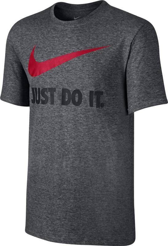 Футболка мужская Nike New Just Do It Swoosh, цвет: серый. 707360-071. Размер XXL (54/56)707360-071Футболка от Nike выполнена из натурального хлопкового трикотажа. Модель с короткими рукавами и круглым вырезом горловины на груди оформлена слоганом и логотипом бренда.