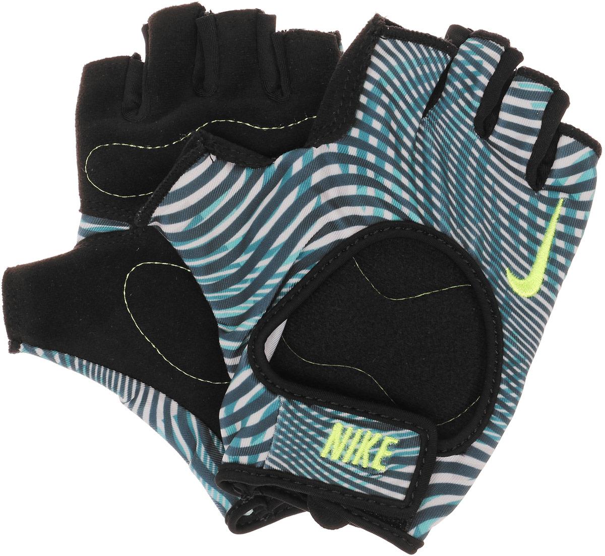 Перчатки для фитнеса женские Nike, цвет: серый, желтый. Размер SN.LG.B0.046.SL_серый, желтыйЛегкие женские перчатки Nike для зала. Обеспечивают стабильную поддержку во время силовых тренировок. Открытый верх перчаток обеспечивает отличный воздухообмен, благодаря которому ваши руки будут оставаться сухими. Мягкий и прочный материал на ладони - для комфорта и защиты.