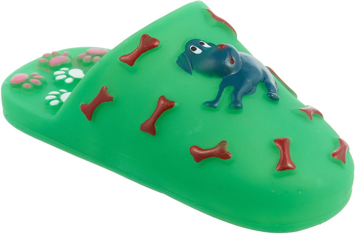 Игрушка для собак Уют Шлепанцы, цвет: зеленый, 15,5 x 6 см уют