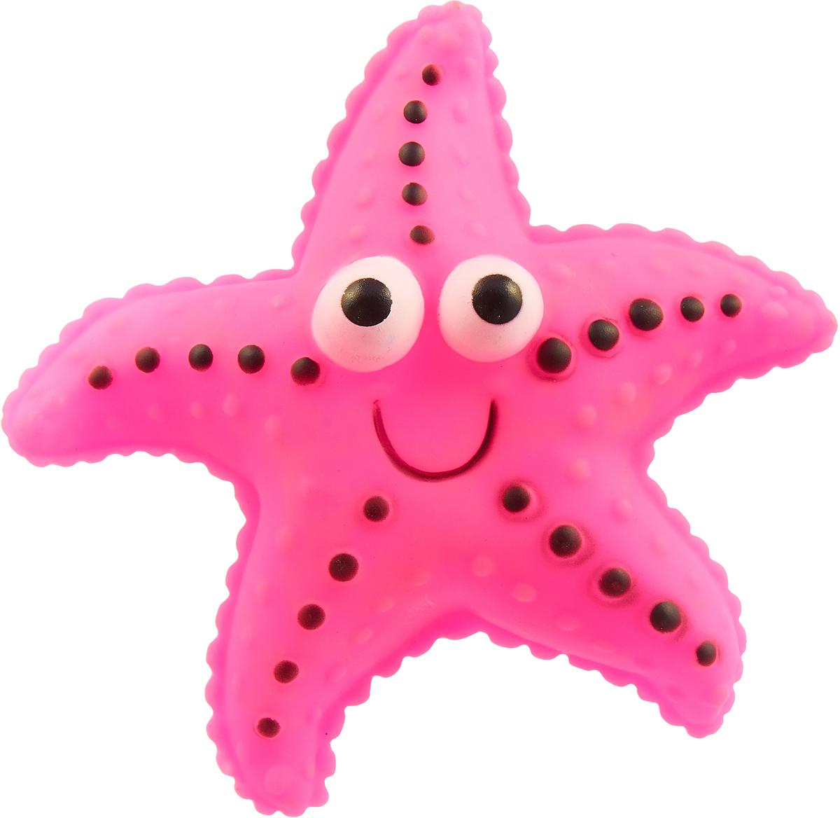 Игрушка для собак Уют Морская звезда, цвет: розовый, 13 см
