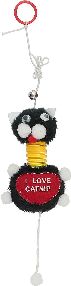 Дразнилка-веревка для кошек Уют Кот, на пружинке, с погремушкой, цвет: черный, 12 см уют