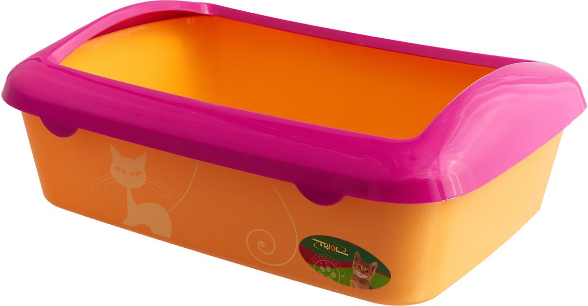 Туалет для кошек Triol, с бортом, цвет: розовый, оранжевый, 42 х 30 х 14,5 см статуэтка кролик 30 х 20 х 29 см