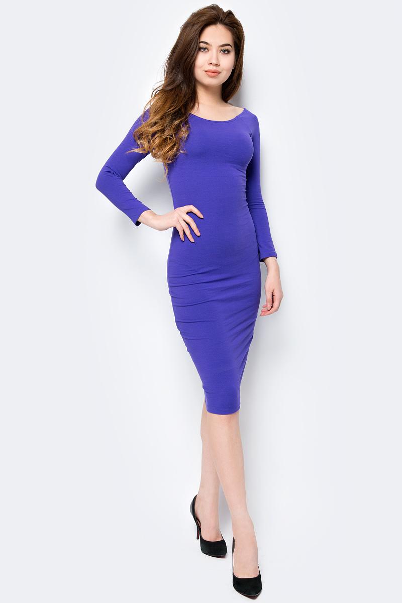 Платье oodji Ultra, цвет: фиолетовый. 14017001-6B/47420/8300N. Размер M (46)14017001-6B/47420/8300NИзящное трикотажное платье облегающего силуэта с длинными рукавами выполнено из полиэстера с добавлением эластана. Платье эффектно сидит и отлично смотрится.