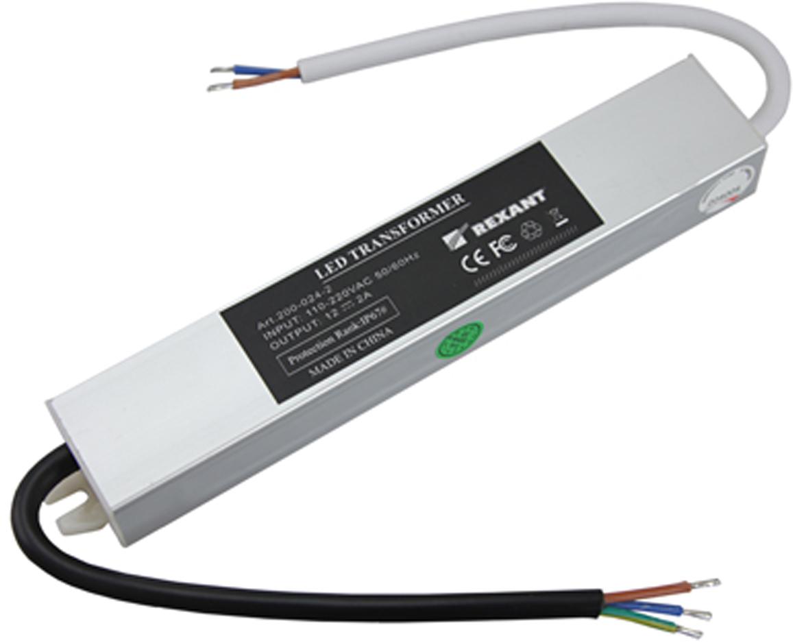 Блок питания для светильника Rexant, 1А, 24W, с проводами, влагозащищенный источник питания для led led 12v5a