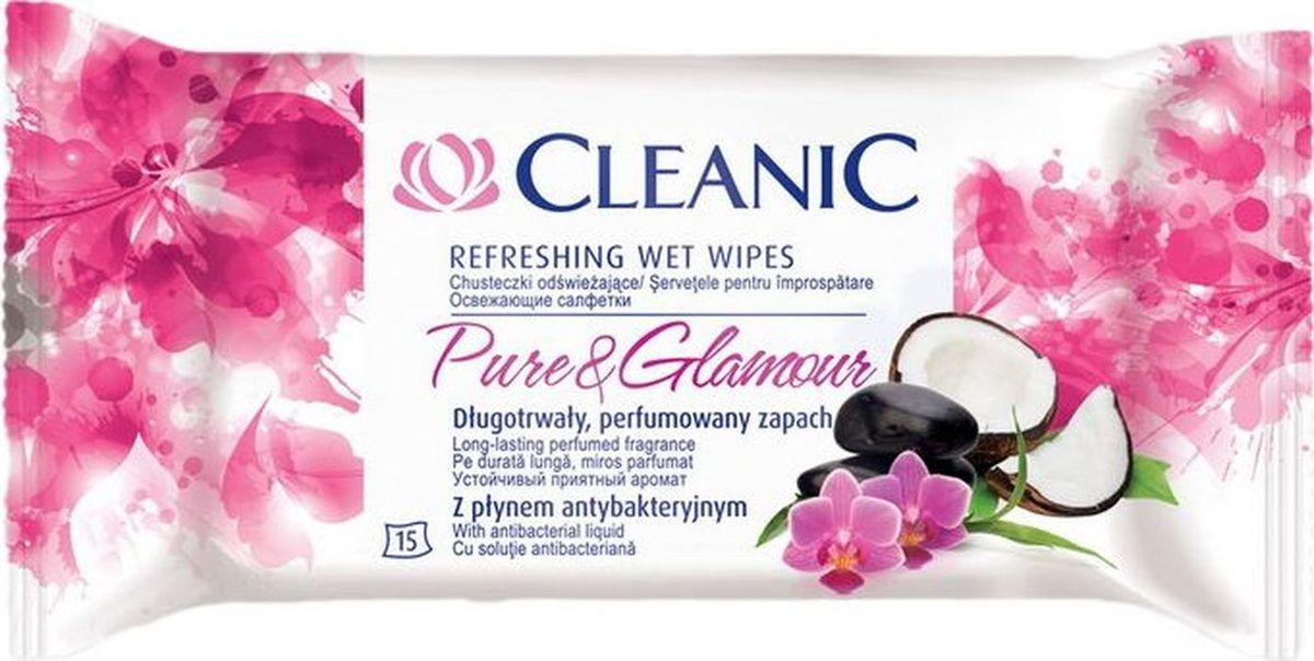Cleanic Салфетки освежающие увлажняющие Pure & Glamour для рук и тела с энергетическим эффектом, 15 шт