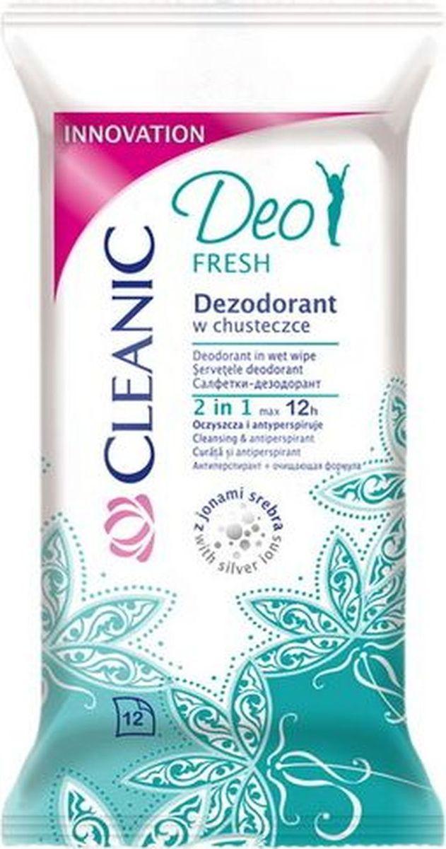 Cleanic Салфетки-дезодорант Deo Fresh, 12 шт дезодорант lavera fresh deo spray lime sensation 75 мл