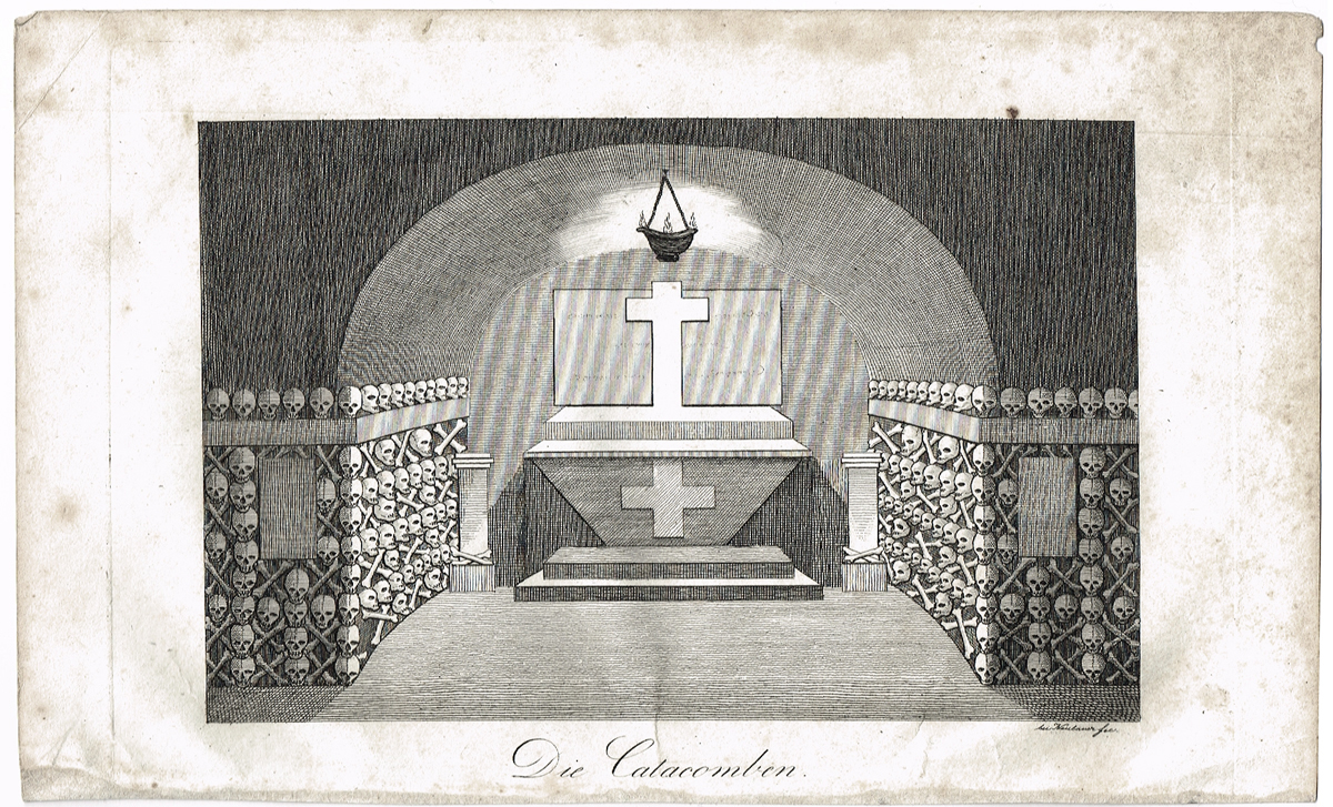 Катакомбы Парижа. Офорт, гравюра. Германия, 1830-1840 гг