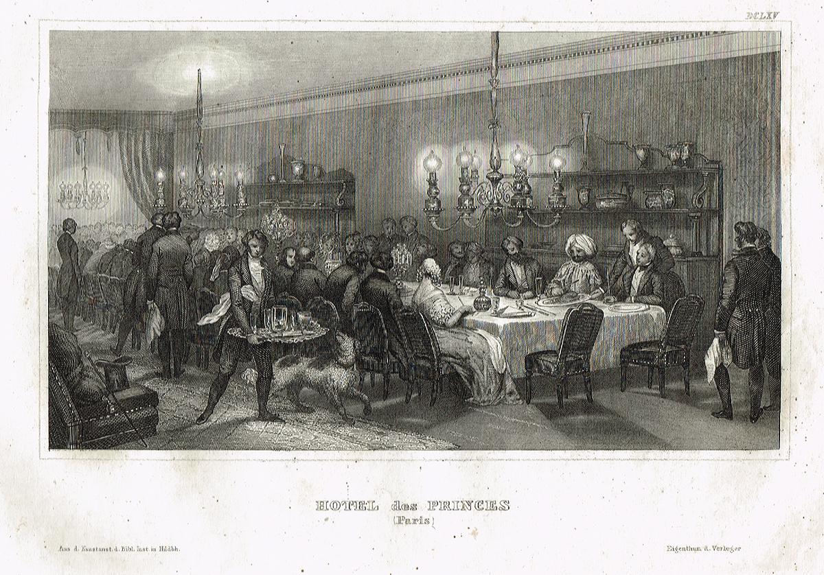 Отель де Пренс в Париже. Офорт, гравюра. Германия, 1850 гг.