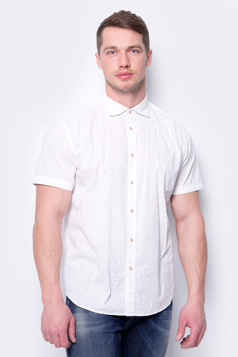 Рубашка мужская United Colors of Benetton, цвет: белый. 5XA15QF48_905. Размер L (50/52) рубашка мужская system of hegemony zb zm6085 2015