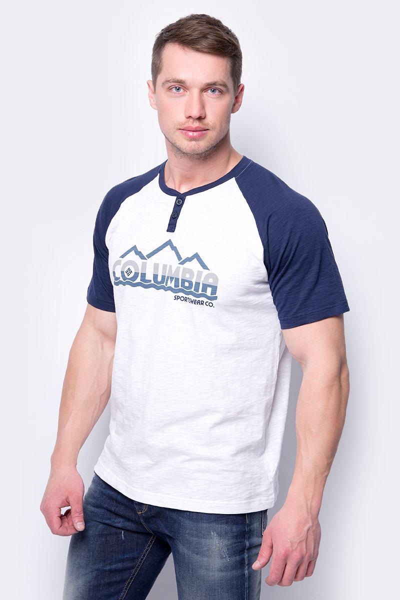 Футболка мужская Columbia Lookout Point Graphic Tee, цвет: синий. 1774882-464. Размер XXL (56/58)