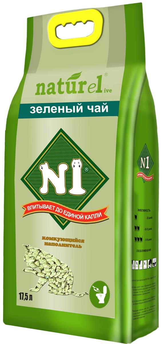 Наполнитель №1 Naturel  Зеленый чай , для кошачьего туалета, комкующийся, 17,5 л - Наполнители и туалетные принадлежности - Наполнители