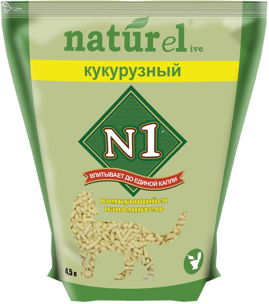"""Наполнитель №1 Naturel """"Кукурузный"""", для кошачьего туалета, комкующийся, 4,5 л"""