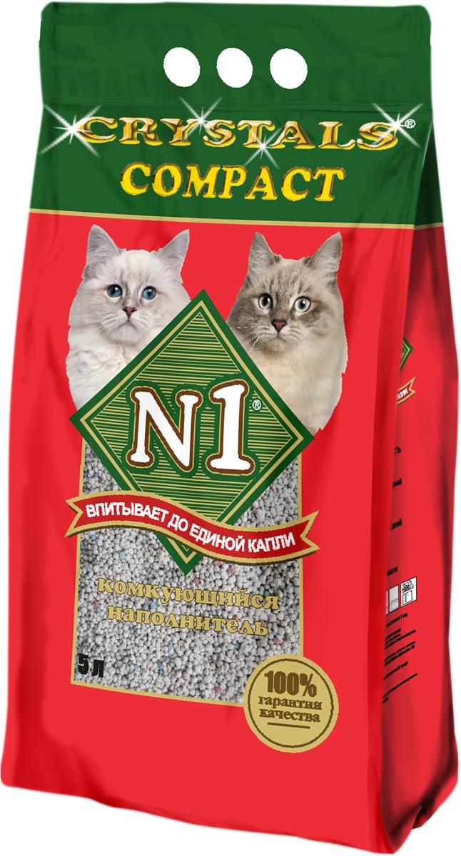 Наполнитель для кошачьего туалета №1 Compact, комкующийся, 5 л catzone наполнитель для кошачьего туалета catzone compact natural 5 2 кг