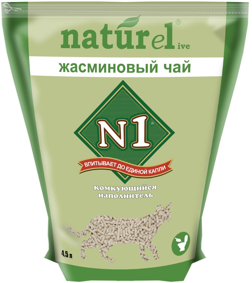 """Наполнитель для кошачьего туалета №1 """"Naturel. Жасминовый чай"""", комкующийся, 4,5 л"""