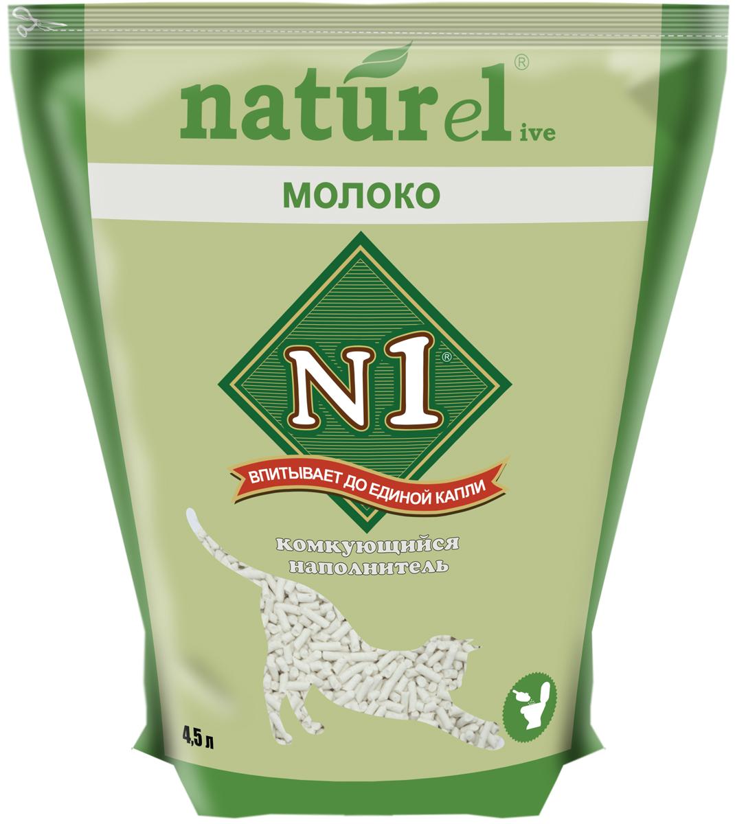 """Наполнитель для кошачьего туалета №1 """"Naturel. Молоко"""", комкующийся, 4,5 л"""