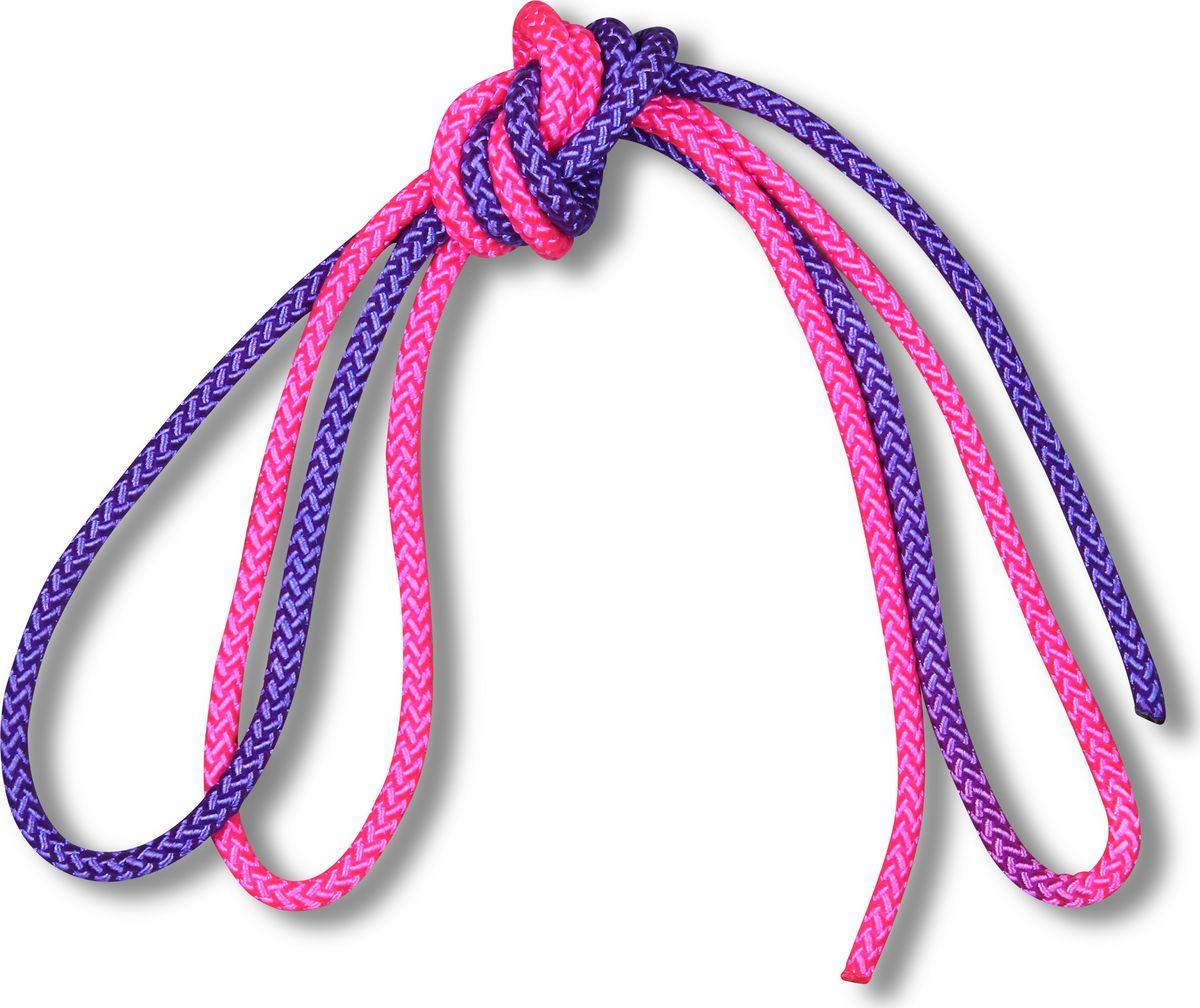Скакалка гимнастическая Indigo, двухцветная, цвет: фиолетовый, розовый, 3 м00023193Скакалка гимнастическая используется как один из предметов в художественной гимнастике.Яркая Гимнастическая скакалка Great не имеет ручек, вместо них можно завязывать узел или обжигать края в веревочной скакалке.Упражнения со скакалкой для художественной гимнастики хорошо укрепляют мышцы всего тела, особенно ног, повышают состояние общей тренированности и выносливости.Веревка для скакалки должна быть длиной 2,5 - 3 м.