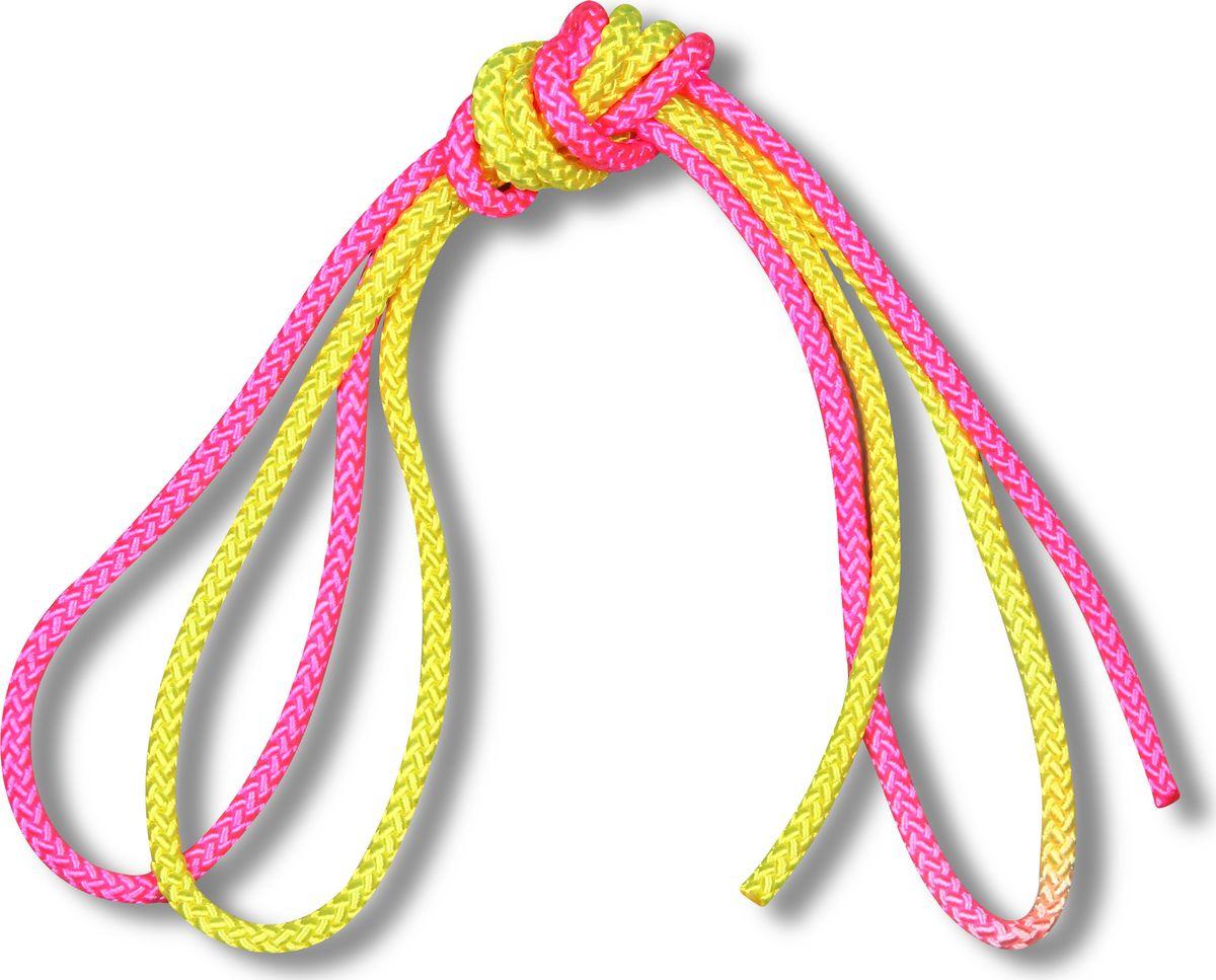 Скакалка гимнастическая Indigo, двухцветная, цвет: желтый, розовый, 3 м00023195Скакалка гимнастическая используется как один из предметов в художественной гимнастике.Яркая Гимнастическая скакалка Great не имеет ручек, вместо них можно завязывать узел или обжигать края в веревочной скакалке.Упражнения со скакалкой для художественной гимнастики хорошо укрепляют мышцы всего тела, особенно ног, повышают состояние общей тренированности и выносливости.Веревка для скакалки должна быть длиной 2,5 - 3 м.
