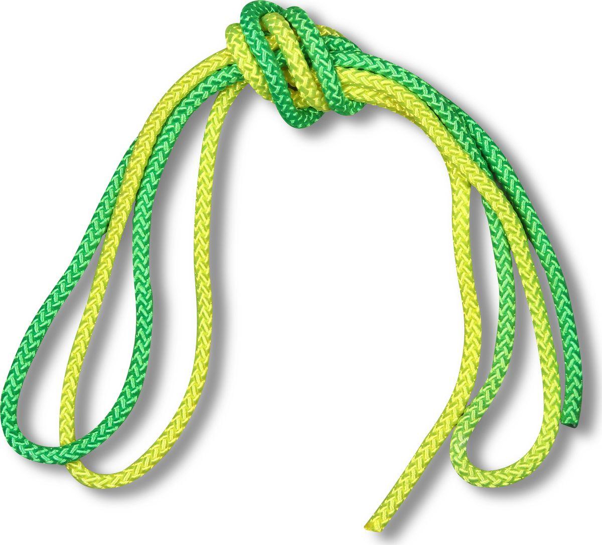 Скакалка гимнастическая Indigo, двухцветная, цвет: желтый, зеленый, 3 м00023197Скакалка гимнастическая используется как один из предметов в художественной гимнастике.Яркая Гимнастическая скакалка Great не имеет ручек, вместо них можно завязывать узел или обжигать края в веревочной скакалке.Упражнения со скакалкой для художественной гимнастики хорошо укрепляют мышцы всего тела, особенно ног, повышают состояние общей тренированности и выносливости.Веревка для скакалки должна быть длиной 2,5 - 3 м.