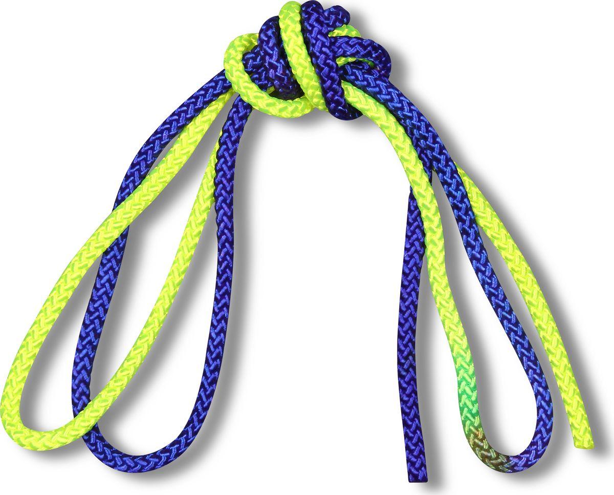 Скакалка гимнастическая Indigo, двухцветная, цвет: желтый, синий, 3 м00023198Скакалка гимнастическая используется как один из предметов в художественной гимнастике.Яркая Гимнастическая скакалка Great не имеет ручек, вместо них можно завязывать узел или обжигать края в веревочной скакалке.Упражнения со скакалкой для художественной гимнастики хорошо укрепляют мышцы всего тела, особенно ног, повышают состояние общей тренированности и выносливости.Веревка для скакалки должна быть длиной 2,5 - 3 м.