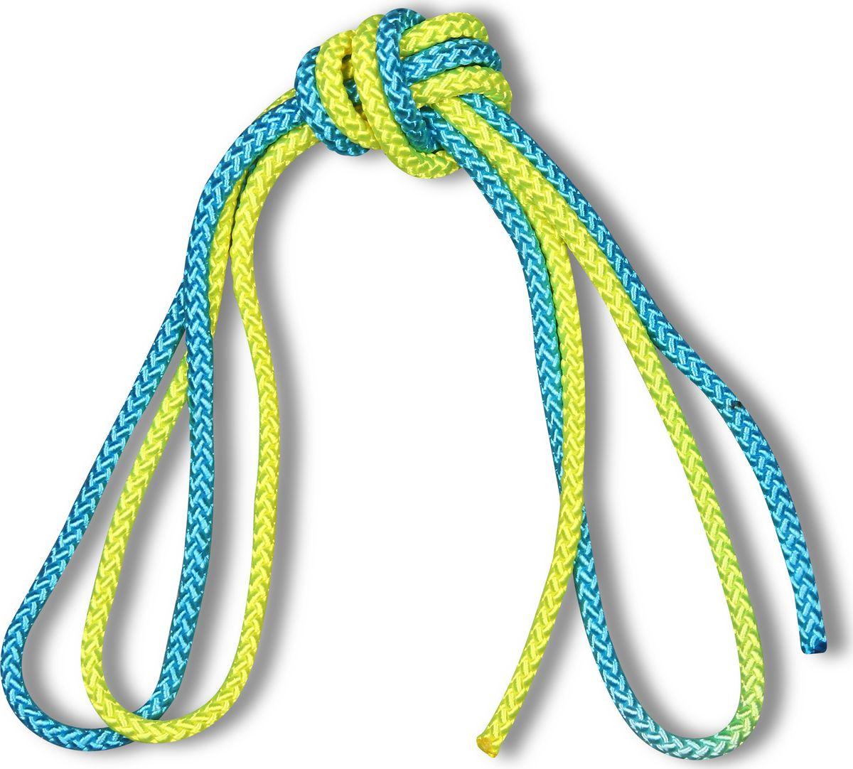Скакалка гимнастическая Indigo, двухцветная, цвет: желтый, голубой, 3 м00023199Скакалка гимнастическая используется как один из предметов в художественной гимнастике.Яркая Гимнастическая скакалка Great не имеет ручек, вместо них можно завязывать узел или обжигать края в веревочной скакалке.Упражнения со скакалкой для художественной гимнастики хорошо укрепляют мышцы всего тела, особенно ног, повышают состояние общей тренированности и выносливости.Веревка для скакалки должна быть длиной 2,5 - 3 м.