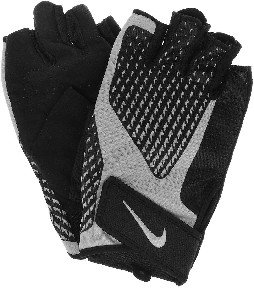 Мужские перчатки для зала Nike, цвет: черный, светло-серый. Размер S