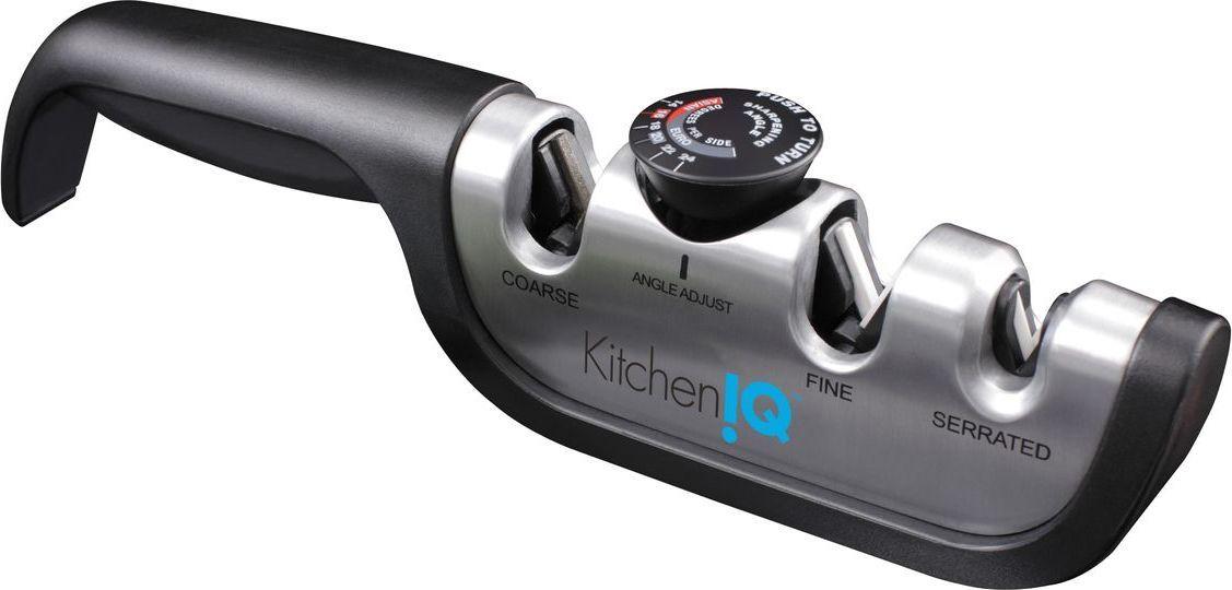Точилка для ножей KitchenIQ, с регулируемым углом заточки, цвет: серебристый, черный. 50265