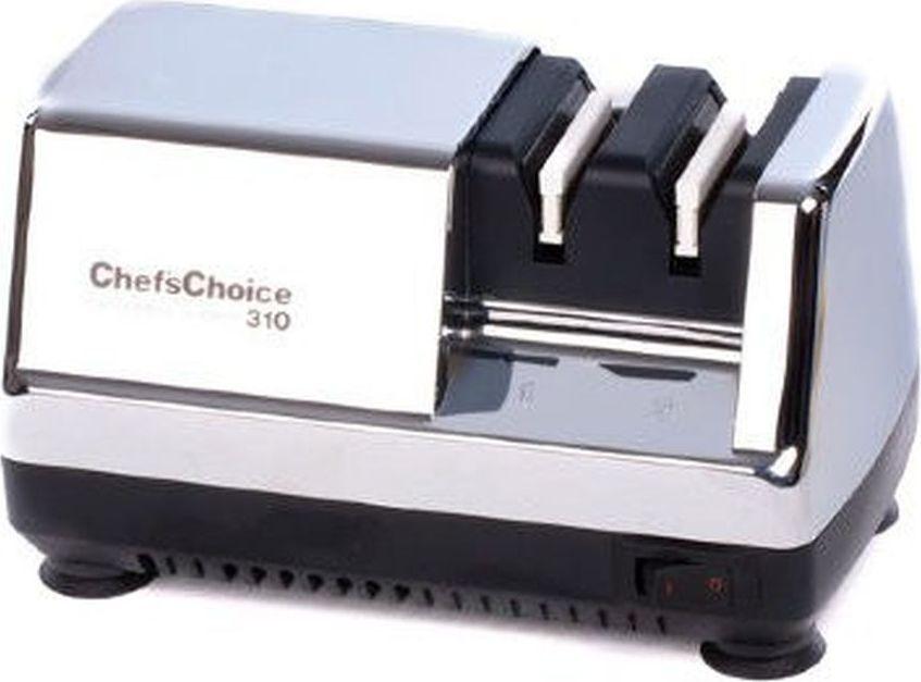 Станок для заточки ножей ChefsChoice, цвет: хром. CH/310HCH/310HУниверсальный электрический станок одинаково эффективно выполняет трехэтапное затачивание обычных кухонных и бытовых, а также небольших карманных или туристических ножей под углом 20°. Функциональные особенности конструкции позволяют использовать его для восстановления даже сильно поврежденных лезвий. Подходит для заточки европейских ножей. Характеристики: Тип направляющей угла заточки: магнитныйТип абразивного покрытия: алмаз Срок службы 1 комплекта заточных элементов: 2000-3000 Рекомендовано для: кухонные ножи, туристические и складные ножи;, cильно повреждённые ножи Мощность двигателя: 45 Вт.