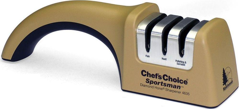 Точилка для ножей ChefsChoice, цвет: коричневый, черный. CH/4635CH/4635Механическая точилка оснащена трехступенчатой системой заточки ножей. Точные направляющие создают необходимый угол (15 градусов для филейных и рыбных ножей и 20 – для складных и охотничьих) и затачивают одновременно с двух сторон. Точильные диски реализуют современную технологию CrissCross (крест-накрест), а их покрытие полностью состоит из алмазных абразивов, которые гарантируют долгий срок службы точильных элементов оборудования Угол заточки: 15°, 20°Тип абразивного покрытия: Алмаз Срок службы 1 комплекта заточных элементов: 1500-2000 Рекомендована для: Охотничьи ножи; Карманные ножи; Серрейтированные ножи; Азиатские ножи (с углом 15 градусов); Европейские ножи (с углом 20 градусов).