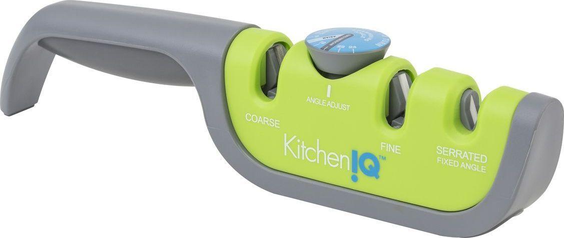 Точилка для ножей KitchenIQ, с регулируемым углом заточки, цвет: серый, зеленый. 50687