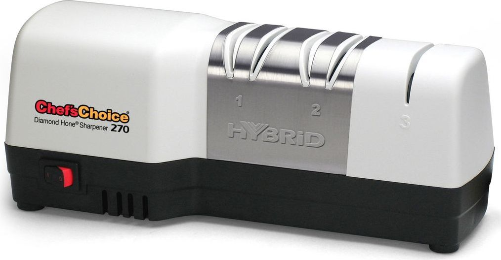 CH/270 - гибридный станок, объединяющий преимущества электрической и механической заточки. Заточка ножа происходит на первом электрическом этапе с последующей полировкой на механическом этапе. На первом этапе лезвие ножа подвергается интенсивному воздействию дисков, имеющий 100% алмазное покрытие, на втором этапе благодаря мелкозернистым дискам происходит доводка лезвия, на третьем этапе - правка и полировка. Такая многоступенчатая заточка позволяет добиться высокого результата и надолго сохранить остроту ножа. Одинаково прекрасно справится с заточкой обычного и серрейторного ножа, кухонного или туристического. Все этапызаточки ножа сопровождаются автоматическим контролем угла заточки.