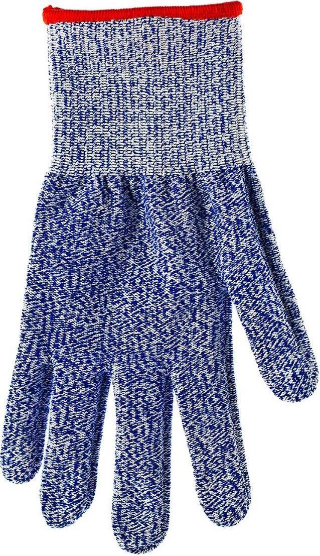 Перчатка из ацетатной нити защищает руку при контакте с режущей кромкой терки или ножа. Единый размер, подходит как для правой, так и для левой руки. Можно стирать. Не мыть в посудомоечной машине!