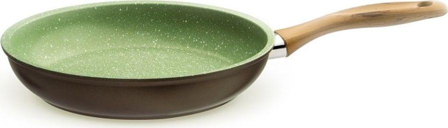 Сковорода Giannini Vegetalia, цвет: зеленый. Диаметр 24 см6561Антипригарное покрытие на водной основе — 5 слоев. Внешние слои устойчивы к пятнам и высоким температурам. Запатентованное покрытие Ollia-tech — эта смесь растительных масел в составе покрытия улучшает антипригарные свойства и делает поверхность гладкой, без пористости. Минеральные частицы, добавленные в покрытие, гарантируют повышенную устойчивость к истиранию. Ручки из смолы, с эффектом оливкового дерева, устойчивы к мытью в посудомоечной машине. Без кислоты (PFOA FREE). Сделано в Италии. Подходит для всех типов плит. Не применять агрессивных моющих и абразивных средств. Протирать мягкой влажной тканью.