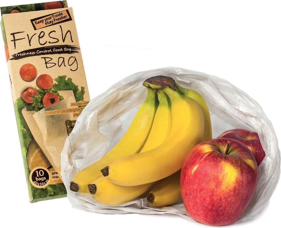 """Фреш-пакеты """"CHEF"""" предназначены для увеличения срока свежести овощей, фруктов, зелени. Они изготовлены из особого активного биоразлагаемого полиэтилена, который способен нейтрализовать этиленовый газ, выделяемый продуктами при хранении. Этиленовый газ – основная причина порчи продуктов – поглощается стенками fresh-пакета и не воздействует на продукты, поэтому овощи и фрукты хранятся значительно дольше, чем при обычных условиях. Это позволяет, например, бананам не чернеть до 21-25 дней, а зелени не желтеть в течение 3 недель. Fresh-пакет содержит фитонциды – вытяжку из растений, препятствующую размножению бактерий.  В одной упаковке """"Fresh Bag"""" – 10 пакетов многоразового использования."""