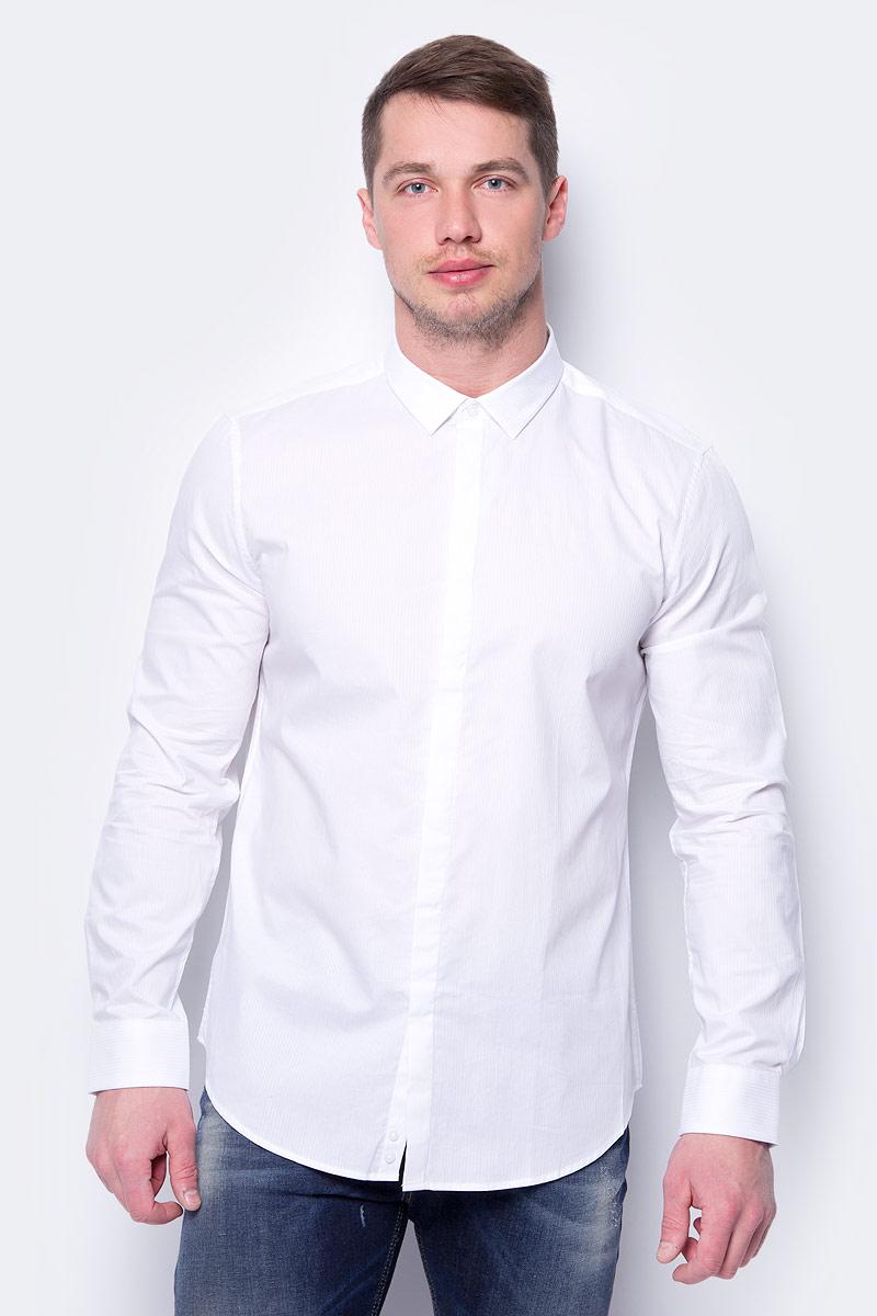 Рубашка мужская United Colors of Benetton, цвет: белый. 5XA05QFA8_905. Размер XL (52/54) рубашка мужская system of hegemony zb zm6085 2015