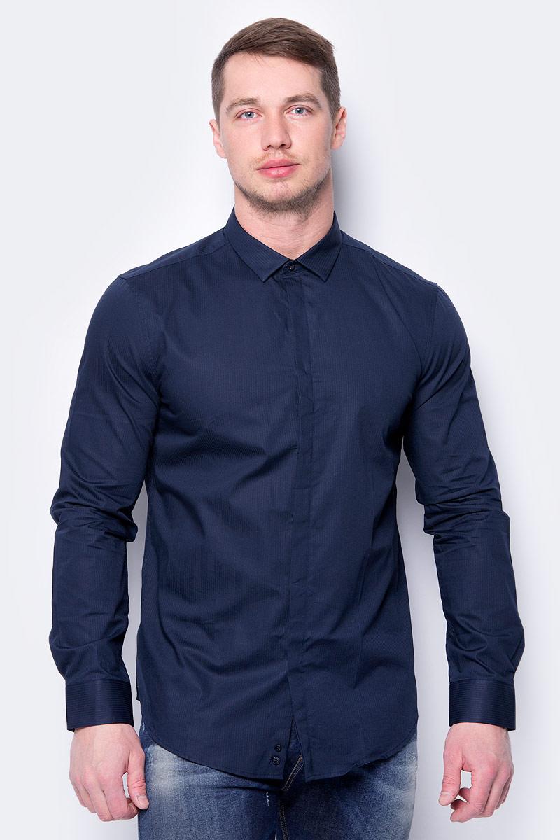 Рубашка мужская United Colors of Benetton, цвет: темно-синий. 5XA05QFA8_906. Размер XL (52/54) рубашка мужская system of hegemony zb zm6085 2015