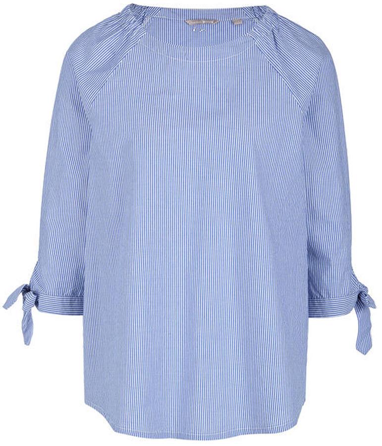 Блузка женская Mustang Bow Blouse, цвет: голубой. 1005105-10925. Размер 42 (48) bow tie pleated frill placket blouse