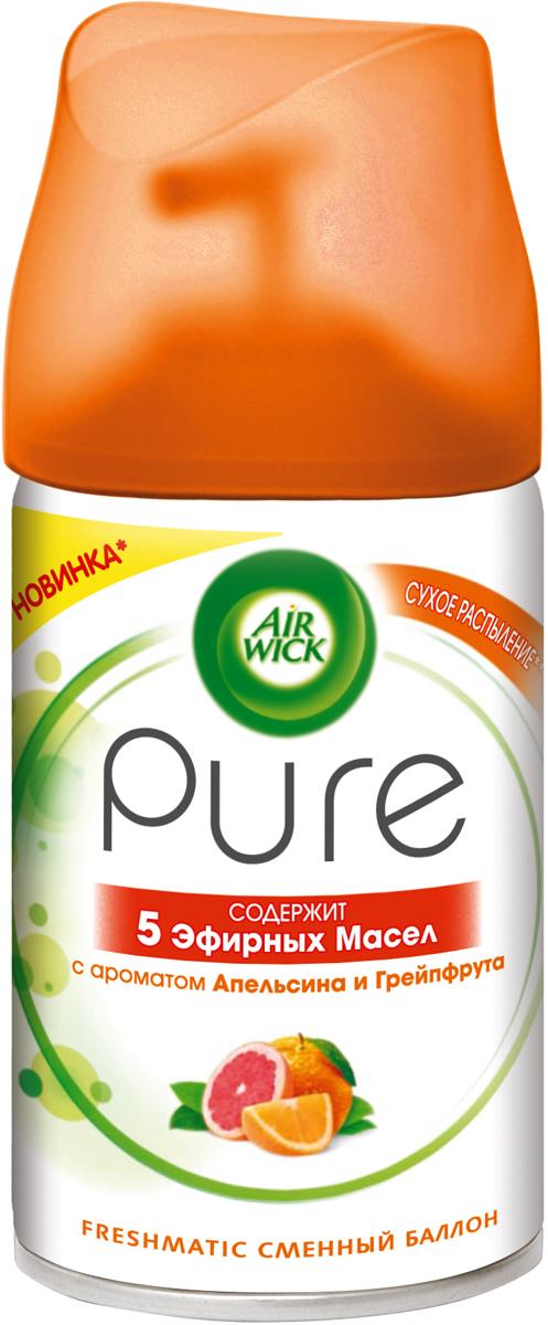 Освежитель воздуха AirWick Pure Апельсин и Грейпфрут, сменный баллон, 250 мл23610Новый освежитель воздуха Air Wick Pure c 5 эфирными маслами помогает создать приятную атмосферу в помещении. Содержит масла апельсина, грейпфрута, лимона, Иланг-Иланг и кедра.• Эффективно устраняет неприятные запахи.• Чистый аромат. • Сухое распыление. Новый освежитель воздуха Air Wick Pure не содержит воды и эффективно устраняет неприятные запахи без мокрого распыления. Используйте освежители воздуха Air Wick Pure в каждой комнате, наполняя ваш дом свежими и приятными ароматами. Состав - 30% и более: бутан, пропан, этиловый денатурированный спирт; менее 5%: ароматизатор, лимонен, линалоол. Хранить в недоступном для детей и животных месте.